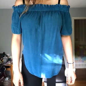 NWOT Blue Off The Shoulder Shirt